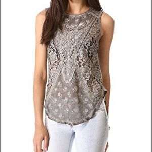 Adorable Gray Lace Free people tank top